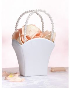 Satin and Pearl Flower Girl Basket