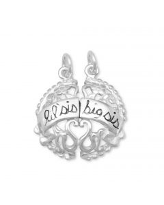 Lil/Big Sis Breakaway Sterling Silver Charm