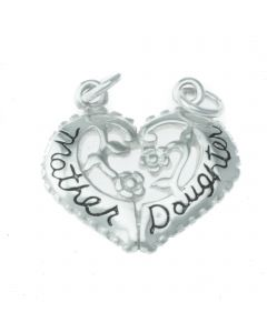 Mother Daughter Heart Breakaway Sterling Silver Charm