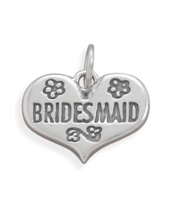 Bridesmaid Wedding Heart Sterling Silver Charm