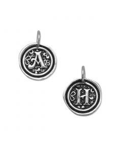 Sterling Silver Oxidized Letter Medallion Pendant