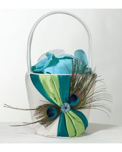 Turquoise and Green Peacock Feathers Flower Girl Basket