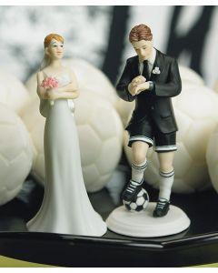 Soccer Player Groom and Bride Cake Topper Set