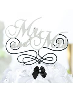 Mr and Mrs Black and White Cake Topper