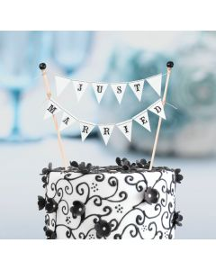 Just Married Flags Cake Topper