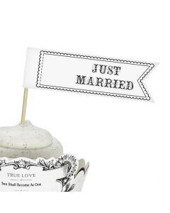 Just Married Flags Cupcake Toppers Set of 12