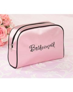 Pink Satin Bridesmaid Cosmetic Bag