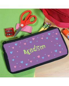 Girls Personalized Hearts Pencil Bag