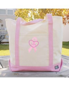 Personalized Breast Cancer Awareness Tote Bag