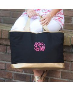 Monogrammed Black and Gold Tote Bag
