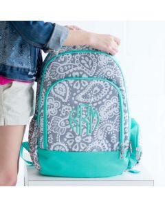 Grey & Mint Paisley Monogram Backpack