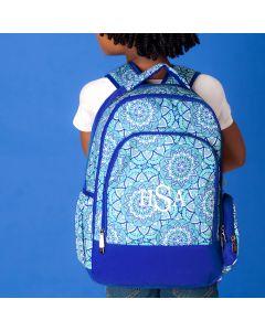 Monogrammed Blue Kelidoscope Print Backpack