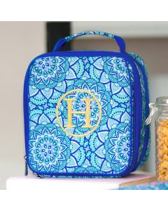Monogrammed Blue Kelidoscope Print Lunch Tote