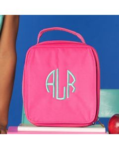 Girls Monogrammed Hot Pink Lunch Tote