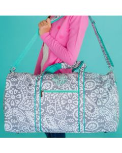 Grey and Mint Paisley Personalized Duffel Bag
