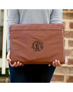 Monogrammed Leather Laptop Sleeve Case
