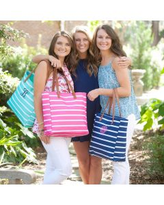 Monogrammed Striped Tote Bags