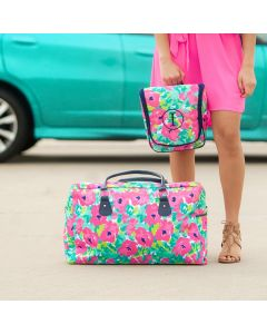 Personalized Pink Floral Weekender Travel Bag