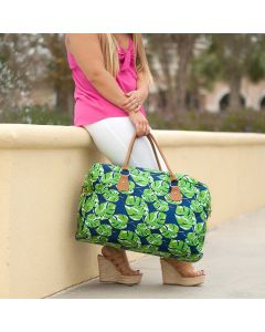 Personalized Navy & Green Palm Leaf Weekender Travel Bag