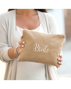 Monogrammed Burlap Bride Clutch Bag