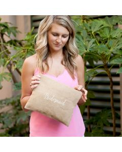 Monogrammed Burlap Bridesmaid Clutch Bag