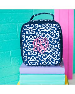Monogrammed Navy and White Lunch Tote