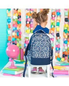 Navy Blue and White Personalized Backpack
