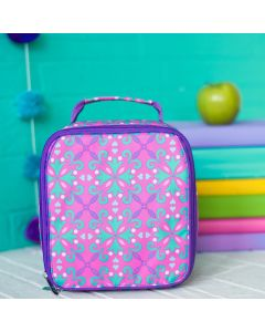 Girls Monogram Pink, Purple and Mint Lunch Tote