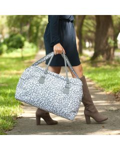 Personalized Grey Leopard Print Weekender Travel Bag