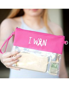 I Won Pink Ribbon Clear Purse for Breast Cancer Survivors