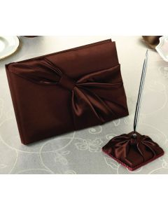 Chocolate Brown Satin Wedding Guest Book and Pen Set