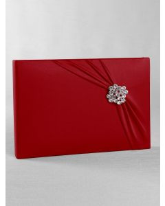 Red Satin Wedding Guest Book