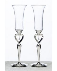 Heart Crystal Champagne Flutes