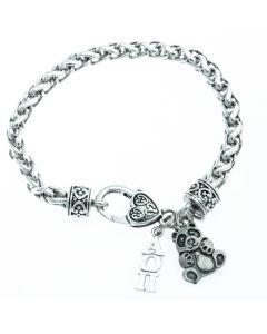 Alpha Omicron Pi Panda Heart Bracelet