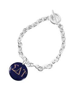 Sigma Delta Tau Round Charm Toggle Bracelet