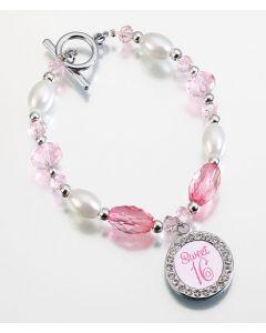 Pink Crystal & Pearl Sweet 16 Bracelet