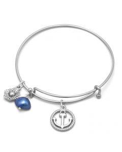 Nautical Anchor Silver Expandable Bangle Bracelet