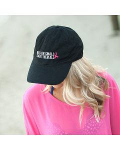 Pink Ribbon Save Them All Black Baseball Cap Hat for Breast Cancer Awareness