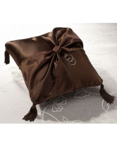 Chocolate Brown Satin Wedding Ring Bearer Pillow