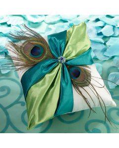 Turquoise and Green Peacock Feathers Ring Bearer Pillow