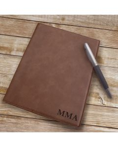 Personalized Brown Leather Portfolio Notebook