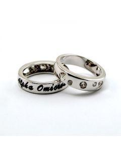 Alpha Omicron Pi Heart CZ Band Ring