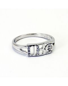 Pi Beta Phi Greek Letter Ring with Diamonds