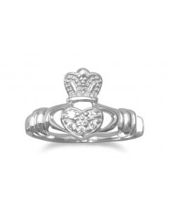CZ Sterling Silver Claddagh Celtic Ring