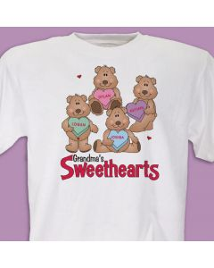 Sweetheart Bears Valentine's Day T-Shirt with Kids or Grandkids Names