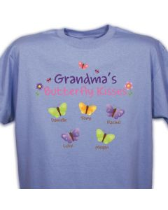 Butterfly Kisses Personalized Colorful T-Shirt with Childrens Names