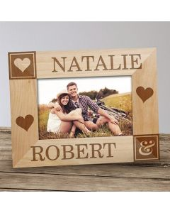 Couple's Name Personalized Wood Picture Frame