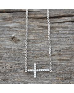 Sterling Silver CZ Side Cross Necklace