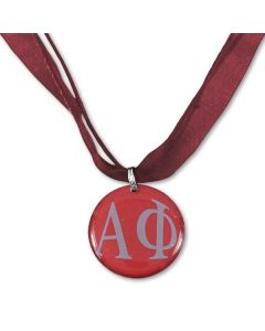 Alpha Phi Bordeaux Ribbon Necklace