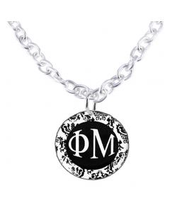Phi Mu Damask Chain Link Necklace